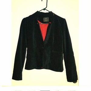 Zara Velvet Blazer in Black